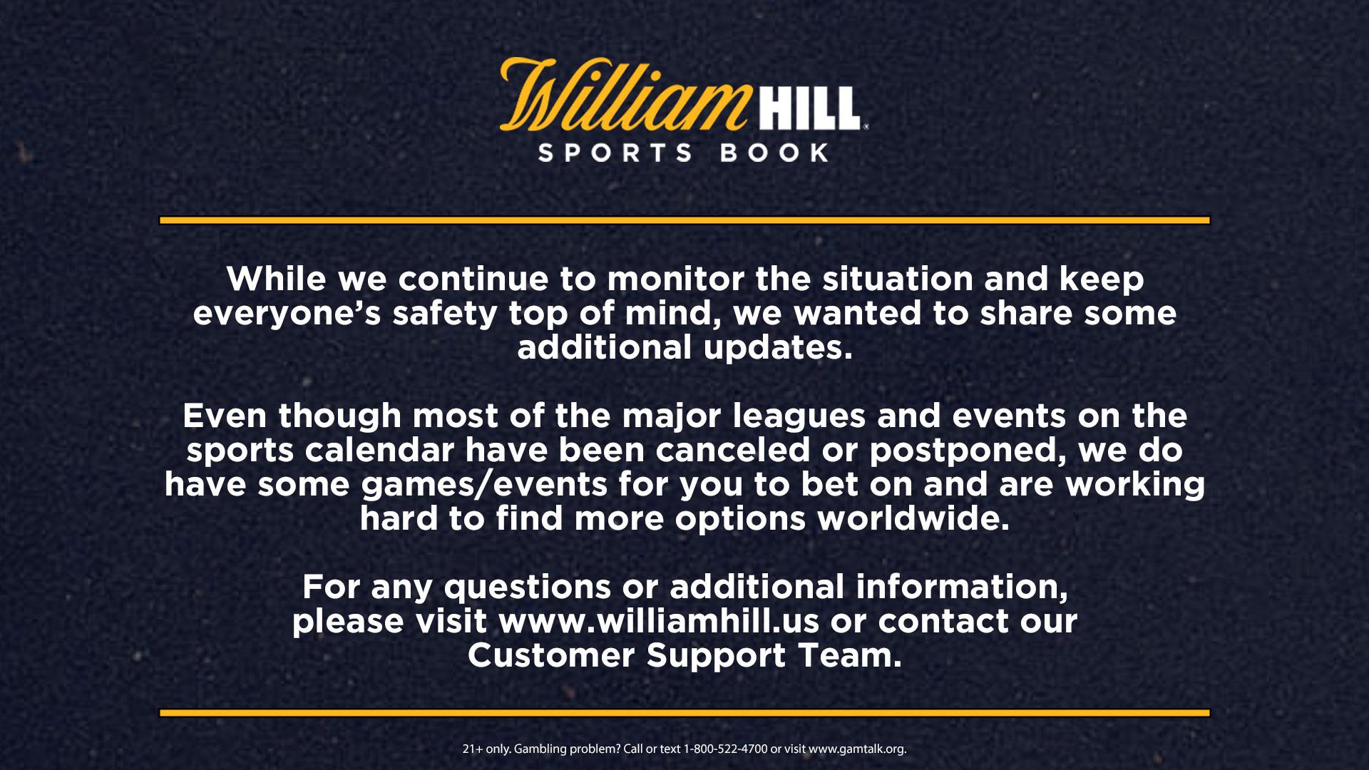 William hill telephone betting rules las vegas betting odds