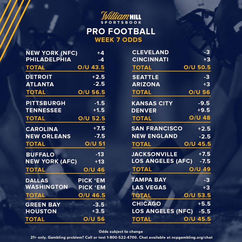Nfl football betting lines week 7 bet on sports sign up bonus